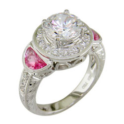 L0420 18KW Diamond and Pink Sapphire Semimount