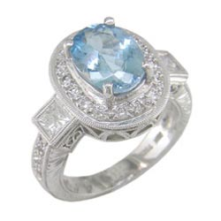 L0420 18KW Aquamarine and Diamond Ring