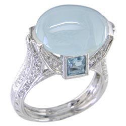 L0459 18KW Aquamarine and Diamond Ring
