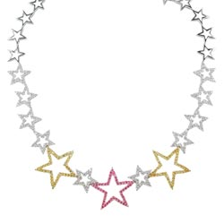 N0463 18KW Assorted Sapphire & Diamond Star Necklace