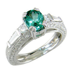 L0464 18KW Green Tourmaline and Diamond Ring
