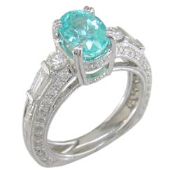 L0464 18KW Mozambique Paraiba Tourmaline and Diamond Ring