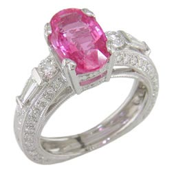 L0464 18KW Pink Sapphire and Diamond Ring