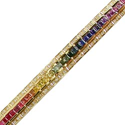 B0501 18KT Rainbow Sapphire and Diamond Bracelet