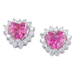 E0508 18KW Pink Sapphire and Diamond Earrings