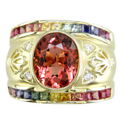 L0511 18KT Tourmaline, Rainbow Sapphire and Diamond Ring