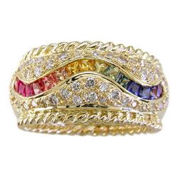 L0519 18KT Rainbow Sapphire and Diamond Ring