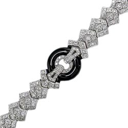 B0537 18KW Onyx & Diamond Bangle