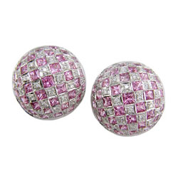 E0541 18KW Pink Sapphire & Diamond Earrings