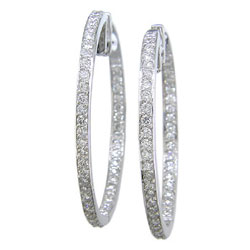 E0544 18KW Diamond Hoop Earrings