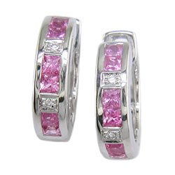 E0551 18KW Pink Sapphire & Diamond Hoop Earrings