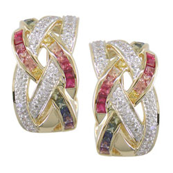 E0654 18KT Rainbow Sapphire and Diamond Earrings