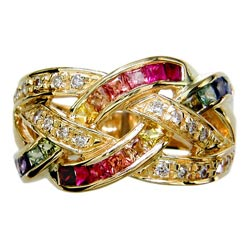 L0654 18KT Rainbow Sapphire and Diamond Ring