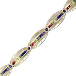 B0703 18KT Rainbow Sapphire and Diamond Bracelet