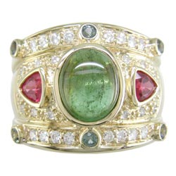 L0723 18KT Tourmaline, Spinel, Green Sapphire, and Diamond Ring