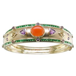 B0740 18KT Fire Opal, Tsavorite, and Amethyst Bangle