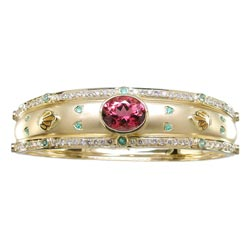 B0740 18KT Salmon Tourmaline, Paraiba, & Diamond Bangle