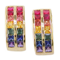 E0744 18KT Rainbow Sapphire Earrings