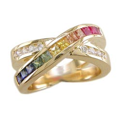 L0766 18KT Rainbow Sapphire and Diamond Ring