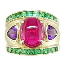 L0776 18KT Rubellite, Tsavorite, and Amethyst Ring