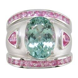 L0776 18KW Tourmaline and Pink Sapphire Ring