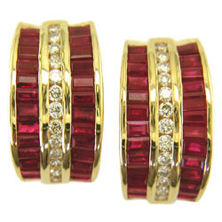 E0784 18KT Ruby and Diamond Earrings