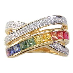 L0787 18KT Rainbow Sapphire and Diamond Ring