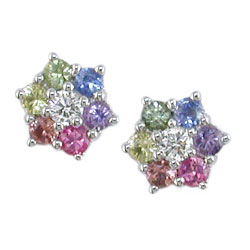 E0834 18KW Fancy Sapphire and Diamond Earrings