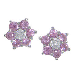E0834 18KW Pink Sapphire & Diamond Earrings