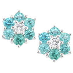 E0834 18KW Brazilian Paraiba and Diamond Earrings