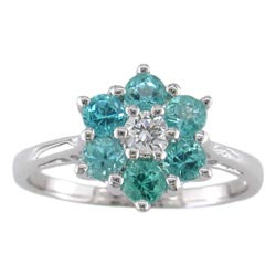 L0834 18KW Brazilian Paraiba Tourmaline and Diamond Ring