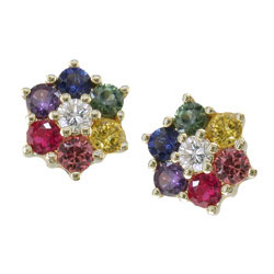 E0834 18KT Rainbow Sapphire and Diamond Earrings