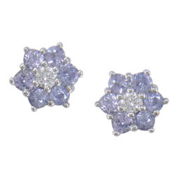 E0834 18KW Tanzanite & Diamond Earrings