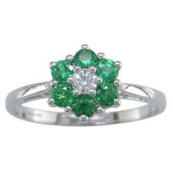 L0834 18KW Tsavorite & Diamond Daisy Ring