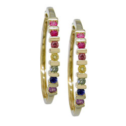 E0864 18KT Rainbow Sapphire Earrings