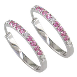 E0945 18KW Pink Sapphire & Diamond Earrings