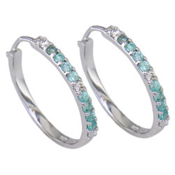 E0945 18KW Brazilian Paraiba  and Diamond Earrings