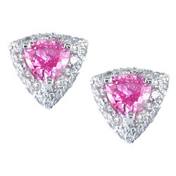 E0975 18KW Pink Sapphire and Diamond Earrings