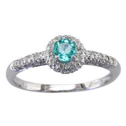 L0975 18KW Brazilian Paraiba & Diamond Ring