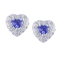 E0975 18KW Sapphire and Diamond Earrings