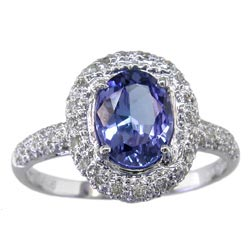 L0975 18KW Tanzanite & Diamond Ring
